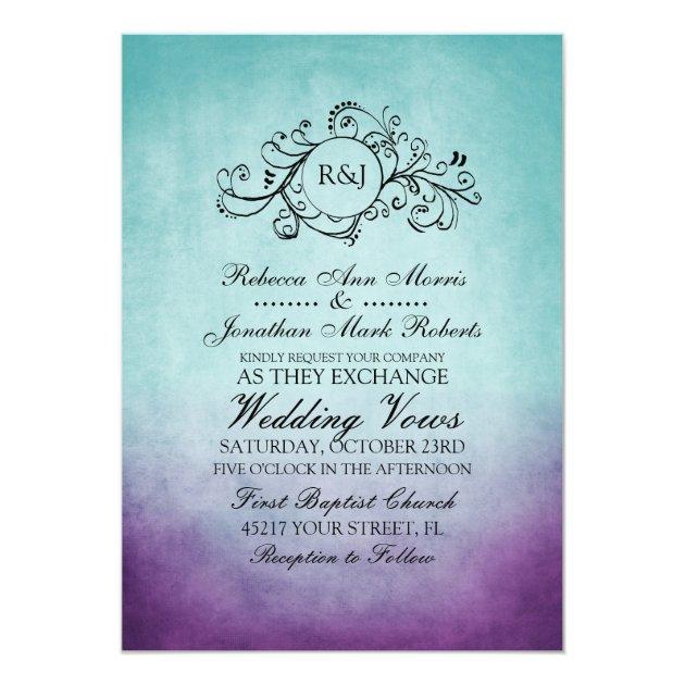 Rustic Teal Purple Bohemian Wedding Invitation   Zazzle