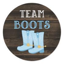 Rustic Team Boots Boy Gender Reveal Classic Round Sticker