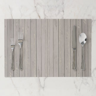Rustic Tearaway Paper Placemat - Brown Wood Plank
