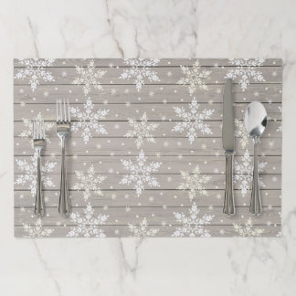 Rustic Tearaway Paper Placemat - Snowflake Plank