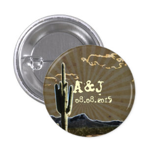 Rustic texas country cactus western wedding favor 1 inch round button