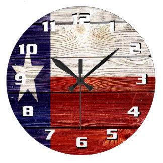 Rustic Texas Flag on wood texture printed Large Clock