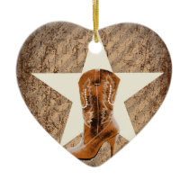 rustic texas lone star western country cowgirl ceramic ornament
