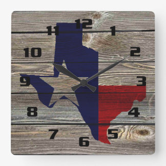 Rustic Texas on Authentic looking wood Square Wall Clocks