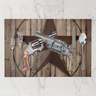 rustic texas star cowboy pistols western country paper placemat