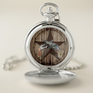 rustic texas star cowboy pistols western country pocket watch