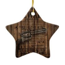 rustic texas star cowboy western country dual gun ceramic ornament