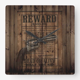 rustic texas star cowboy western country dual gun square wall clock