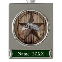 rustic texas star cowboy western country pistols silver plated banner ornament