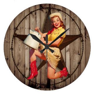rustic texas star fashion western country cowgirl clocks