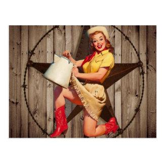 rustic texas star fashion western country cowgirl postcard