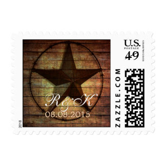 rustic texas star western wedding save the date postage
