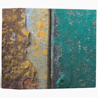 Rustic Texture With Flaking Paint On Rusty Metal 3 Ring Binders
