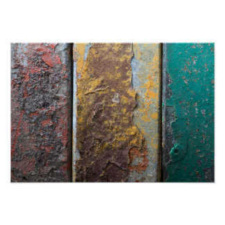 Rustic Texture With Flaking Paint On Rusty Metal Poster