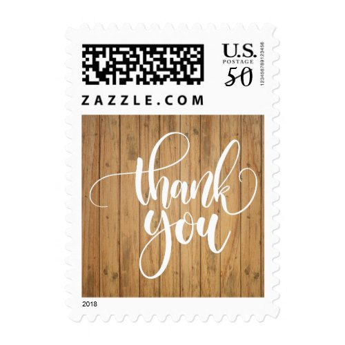 Rustic Thank You Brown Country Wood Wedding Party Postage