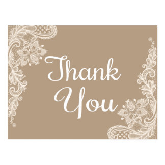 Rustic Thank You Brown & White Floral Lace Postcard