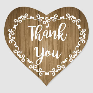 Rustic Thank You Brown Wood White Floral Heart Heart Sticker
