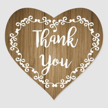 Valentines Themed Rustic Thank You Brown Wood White Floral Heart Heart Sticker