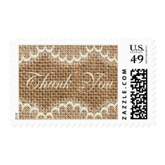 Rustic Thank You Burlap And Lace Custom Postage