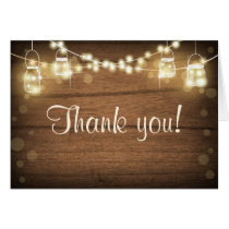 Rustic Thank You Card String Lights Mason Jar Wood