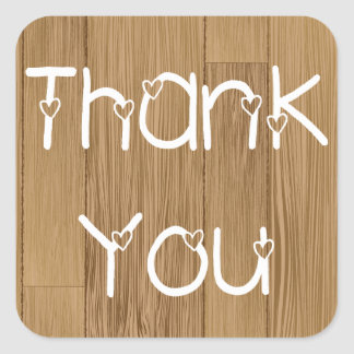 Rustic Thank You & Hearts Wooden Stickers / Labels