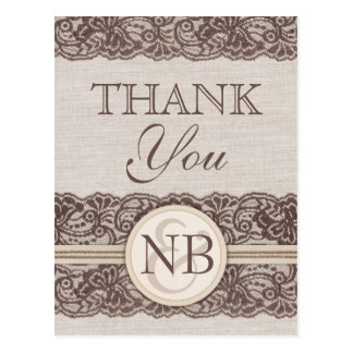 Rustic Thank You postacards Burlap and lace Postcard
