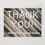 "[ Thumbnail: Rustic ""Thank You!"" Postcard ]"