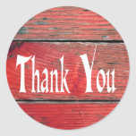 Rustic Thank You Red Distressed Wood Sticker Round Sticker