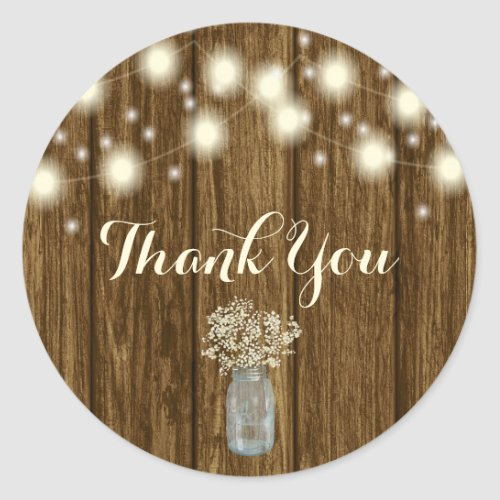 Rustic Thank You Sticker Thank You Tag Rustic Classic Round Sticker