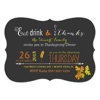 Rustic Thanksgiving Dinner Autumn Chalkboard Card