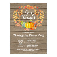Rustic Thanksgiving Dinner Party Fall Autumn Invitation
