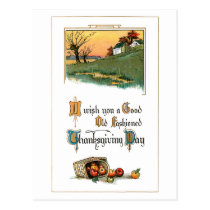 Rustic Thanksgiving Greeting with Apples Postcard
