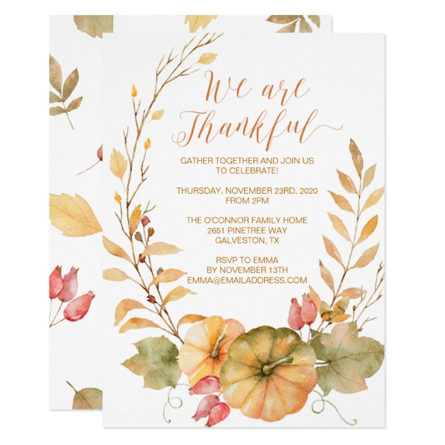 Rustic Thanksgiving Invitation Fall Invite