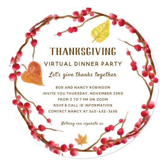 Rustic Thanksgiving Virtual Dinner Party Invitation