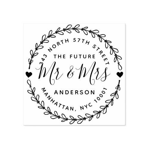 Rustic The Future Mr  Mrs Wedding Return Address Rubber Stamp