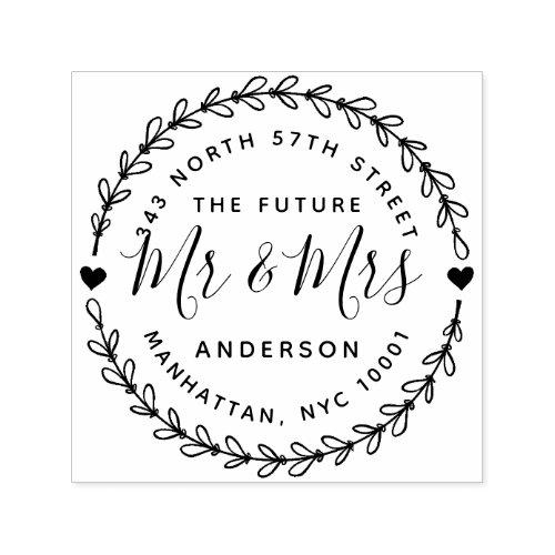 Rustic The Future Mr  Mrs Wedding Return Address Self_inking Stamp
