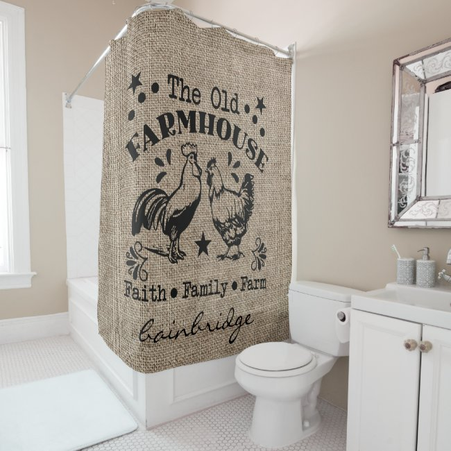 Rustic The Old  Farmhouse Personalized Shower Curtain