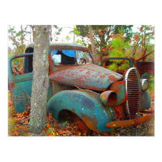 Rustic Thirties Junk Yard Pick Up Truck Postcard