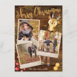 "Rustic Three Photo Collage Personalized Christmas Holiday Card<br><div class=""desc"">Stunning rustic style triple vintage instant photo frame holiday greeting cards with fun adornments and personalized text and photos. Add three of your most favorite photos, your names or the family name and the current year and you're all set! A cool vintage wooden background with scattered gold snowflakes. One photo...</div>"