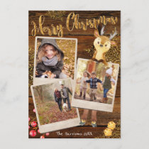 Rustic Three Photo Collage Personalized Christmas Holiday Card