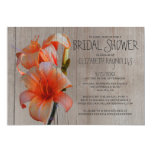 Rustic Tiger Lilies Bridal Shower Invitations Cards