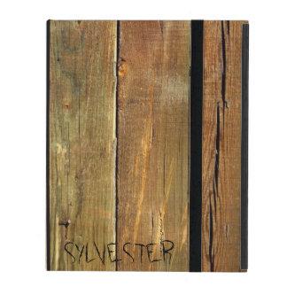 Rustic Timber Plank Monogram iPad Cover