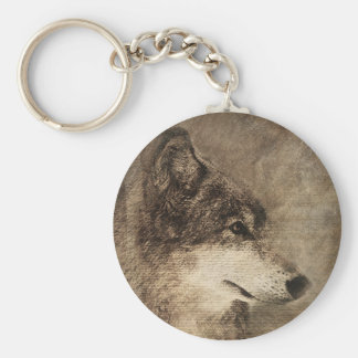 Rustic Timber Wolf Illustration Key Chain