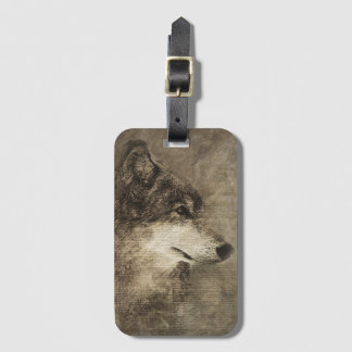 Rustic Timber Wolf Illustration Luggage Tag