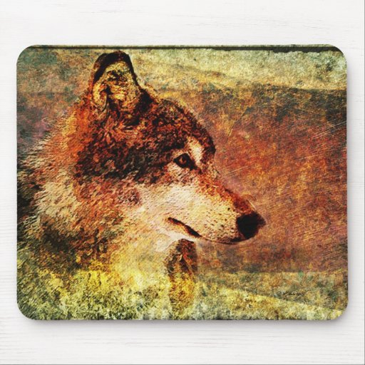 Rustic Timber Wolf Mouse Pad