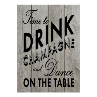 Rustic Time to Drink Champagne Black Poster