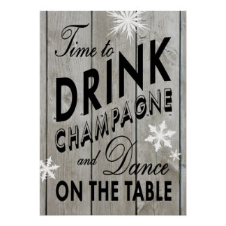Rustic Time to Drink Champagne Holiday Poster