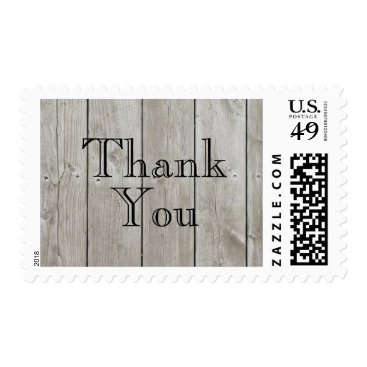 prettyfancyinvites Rustic Time to Drink Champagne Thank You Stamp