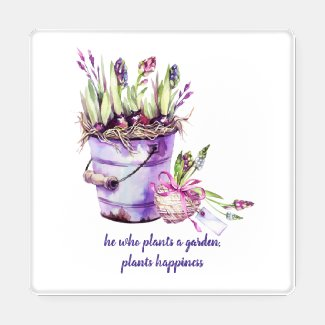 Rustic Tin Bucket Purple and Pink Hyacinths Coaster Set