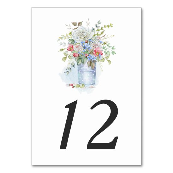 Rustic Tin Bucket Watercolor Garden Bouquet  | Table Number